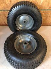 13x5.00-6 Turf Tread Tube Type Gray Wheel Metal Bushings Set of 2 Free Shipping!