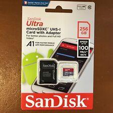 NEU SANDISK Ultra 100mb/s 256 GB Micro SD SDXC CLASS 10 Speicherkarte + SD Adapter