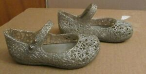 Toddler MINI MELISSA+ CAMPANA Silver Gray Jelly Shoes Size 8