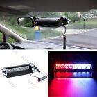 8LED Car Truck Police Strobe Flash Light Dash Emergency 3 Flashing Mode Red/Blue