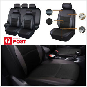 PVC Leather Car Front+Rear Seat Covers Protector Cushions Full Set Black AU SHIP