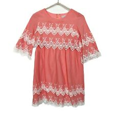 Chasing Fireflies Girls Spring Dress Size 10 Coral Pink Lace Trim