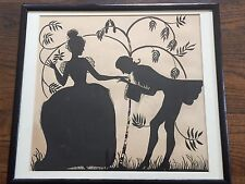 Large Antique Silhouette Courting Couple