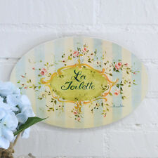 Shabby Cottage Chic Blue Roses Vintage Style Wall Art Plaque Sign Home Decor