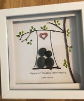 Handmade Pebble Art picture Framed Love Anniversary Engagement Wedding Gift
