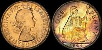 1964 GREAT BRITAIN ONE 1 PENNY ELIZABETH II COLOR TONED COIN IN HIGH GRADE