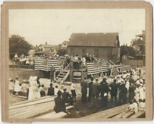 1912 Silver Print Cabinet Card of American Flag Draped Building Ceremony