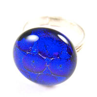 """Cocktail Ring Adjustable DICHROIC Fused Glass 3/4"""" 20mm Cobalt Blue Bubbles Dots"""