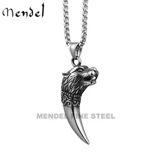 MENDEL Mens Viking Wolf Head Tooth Teeth Pendant Necklace Stainless Steel Chain