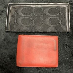 COACH Mens Red Leather Slim Bifold Wallet - W/ Black Folding ID Cary Case -USED-