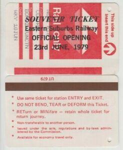 Eastern Suburbs Railway Sydney 1979 official opening souvenir ticket, scarce