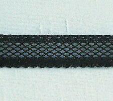 "Lattice Entredeux Stretch Lace Trim  Mesh Lattice Elastic 5/8"" Black 10 yds #N88"