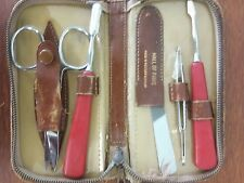 Made in Germany Set of Nail-Manicure-Pedicure Tools in Original Leather Case