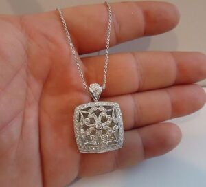 925 STERLING SILVER LOCKET HEART ACCENT PENDANT NECKLACE /SIZE 35MM BY 24MM