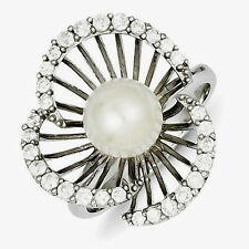 Sterling Silver Ladies Pearl  Ring with Cubic Zirconia accents sz8