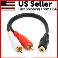 Premium RCA Audio Jack Cable Y Adapter Splitter 1 Female to 2 Male Plug Quality