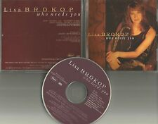 LISA BROKOP Whe Needs you ULTRA RARE PROMO RADIO DJ CD single w/ PRINTED LYRICS