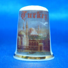 Birchcroft China Thimble - Travel Poster Series - Turkey - Free Dome Gift Box