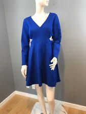 NWOT Halston Heritage Blue Women's  V-Neck Dress Cutout Size 12