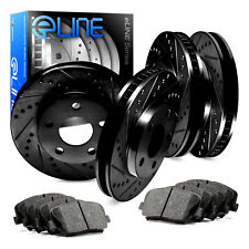 Front,Rear Eline Series Black Drilled  Slotted Brake Rotors + Ceramic Pads A379
