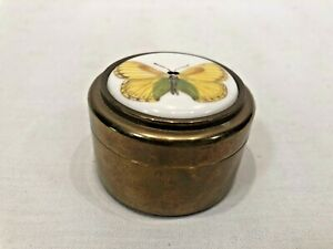 Vintage SH SOLID BRASS Pill Box w/ Porcelain Butterfly Made in England