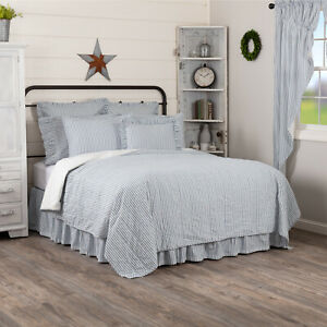 VHC Brands Farmhouse Twin Ticking Stripe Coverlet Blue Sawyer Mill Bedroom Decor