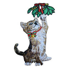 "Christmas Kitten Applique Patch - Cat, Mistletoe, Kitty Badge 2-7/8"" (Iron on)"