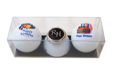"""Geschenkset: 2 Golfbälle """"HAPPY BIRTHDAY"""" und Cap-Clip mit Namen oder Initialen"""