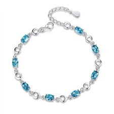 4Ct Blue Topaz Tennis Bracelet In White Gold Over 925 Sterling Silver