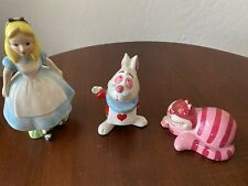 Disney Porcelain Alice In Wonderland Cheshire Cat White Rabbit 70's Japan