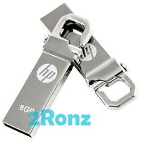 HP v250w 8GB 8G USB Flash Pen Thumb Drive Disk Stick Silver Metal Lot of 5pcs