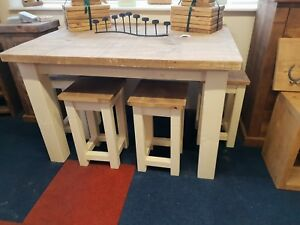 NEW SOLID WOOD RUSTIC CHUNKY PAINTED TABLE AND STOOL SET, WOODEN KITCHEN TABLE