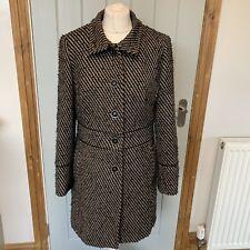 Per Una Black Brown Wool Blend Striped Warm Winter Long Coat Size 14