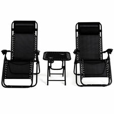 3 pcs Folding Zero Gravity Recliner Lounge Chairs Table Set Camping Beach Black