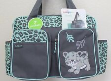 BABY BOOM Leopard Duffle Unisex Diaper bag 7 pockets w/Changing pad Grey/Green.