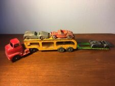 VINTAGE TOOTSIE TOY TRUCK CARRIER HAULER TRAILER TOY PLUS 3 CARS