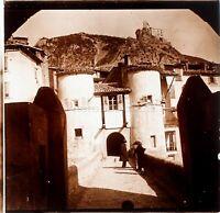 Pont Village Corse à Identifier, Photo Stereo Vintage Plaque de Verre VR3L7n2