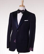 NWT $3595 SARTORIA PARTENOPEA Navy Peak Lapel Wool-Silk Tuxedo Slim 40 R Suit
