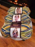 Lion Brand Color Waves Yarn Cactus Flower, Lot of Three (3) Skeins Brand New