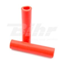 15422 Manopole bici 100% silicone fissaggio standard lungo 135mm colore rosso