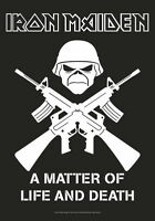 """IRON MAIDEN FLAGGE / FAHNE """"A MATTER OF LIFE & DEATH CROSSED GUNS"""" POSTERFLAGGE"""