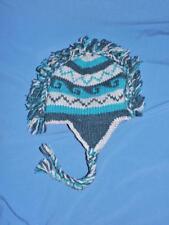 Nepal Blue Gray Stripe Wool Knit Trapper Hat Beanie Fleece Lined Yarn Mohawk OS