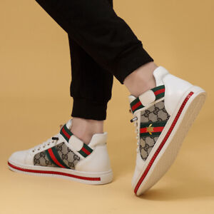 2021 Men's Luxury Embroidery Casual Shoes Skate Sneakers Leather Black White