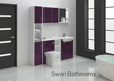 AUBERGINE GLOSS BATHROOM FITTED FURNITURE 1700MM WITH WALL UNITS