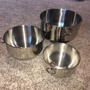 Farberware 3 Stainless Steel Double Thumb Rings Nesting Mixing Bowls  NO LIDS