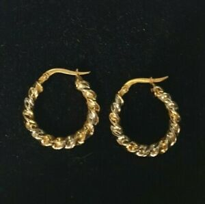 14ct yellow & white gold rope Twist Hinged Hoop/creole Earrings, hallmarked