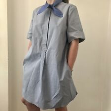 And Other Stories Chambray Tie Short Dress US 4 Preowned Cotton Blue