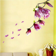 New Fashion Magnolia Flowers Tree Wall Stickers Art Mural Background Wall Decor