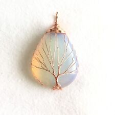 Opalite Gemstone Copper Wire Wrap Tree of Life Handmade Pendant For Necklace