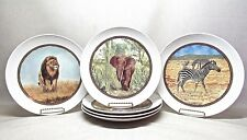 IKEA .. SET OF 6 JUNGLE ANIMALS 9 INCH PORCELAIN DINNER PLATES